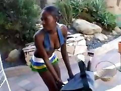 Two ebony babes get together and use big toys to fuck each other