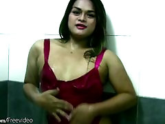 Chubby Asian tranny in pink lingerie shows big ass in shower