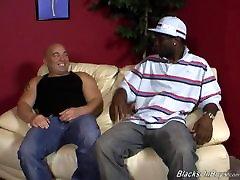 Chubby bald guy does decent deepthroat on BBC