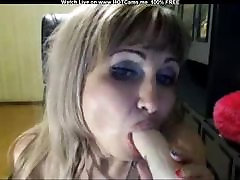Russian Mature Blonde Sucking Dildo