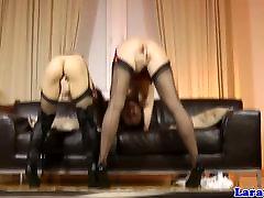 Glam mature in stockings going lez