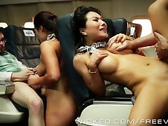 Hot Asian orgy on a plane