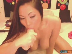 Hot Asian with nice tits masturbates