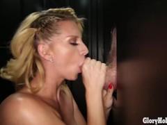 Gloryhole Secrets blonde slut gets mouthfuls of cum