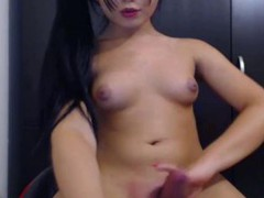Asian Transsexual strokes her cock