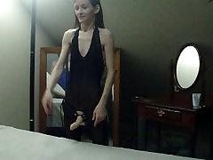 I make my sissy husband suck my strapon