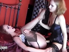 Cute blonde mistress fingers and fucks gorgeous redhead babes tight wet pussy with strapon