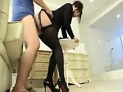 Classy Asian lady in lingerie and high heels gets drilled f
