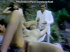 Retro actors and actresses Candie Evans, Melissa Melendez, Joey Silvera in classic fuck movie
