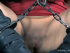 Dirty slut Syren de Mer is getting her mouth stretched wide af in BDSM porn clip