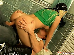 Sassy blonde teen gets her plump ass fucked in the toilet