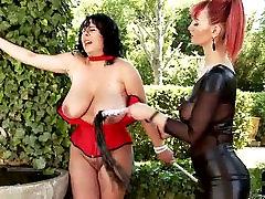 Kinky domina sucks juicy big tits of BBW slut