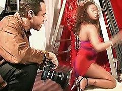 Well shaped ebony slut is having an explicit photo shoot