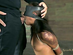 Black chick undergoes the tough BDSM action in the deserted place
