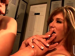 Nasty bitch with great silicone tits Felony gets her yoni treated