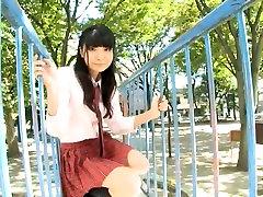 Lovely Japanese college girl Airi Morisaki demonstrates her cotton panties