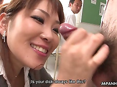 Wanton Asian MILF in stockings pleases her colleague with solid BJ