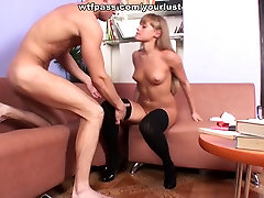 Insanely horny nympho in high heels gets pounded from behind
