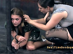 Spoiled young doxy gets her huge ears pinned with pegs in BDSM sex clip