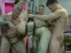 Strapped gay orgy fucked in ass and mouth in paint shop