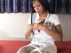 Sexy Ebony Nurse Sucking White Cock Passionately