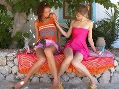 Two russian lesbian girls toying