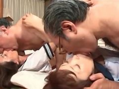 Horny mature Asian dudes eating highschool pussy in gangbang