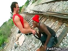 White trash gets sucked by black thug part4