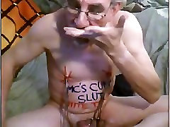 Slave dk painfully cums and eats