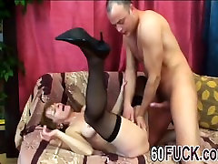 Pretty granny Ivet black stockings fucking young