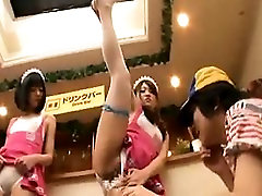 Asian waitresses put on an acrobatic show after work showin