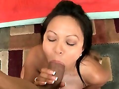 Hot Asian blowing fat black cock on knees
