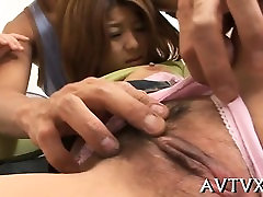 Lusty man bangs oriental chick roughly from behind