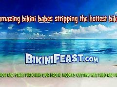 Asian babe pulls her bikini bottom aside