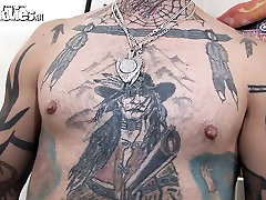 Tattooed skinny guy fucking his fat wife
