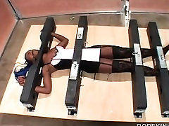 Hot ebony gets tied up and gagged in BDSM video