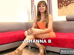 Mature shemale Johanna B asshole fucking with bald dude