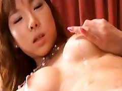 Serina Hayakaw hot babe lovely asian model is poking her hairy pussy with a dildo