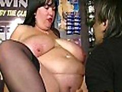 Boss fucks huge barmaid at work