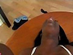 Sporty black girl impaled on weenie