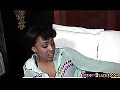 Classy ebony teen blows