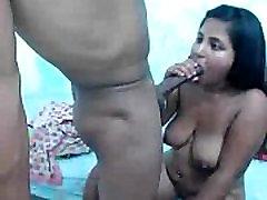 latin teen sucking huge cock then facial