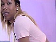 Ebony shemale fingers her ass