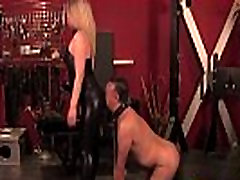 Mistress clamps pathetic bound sub