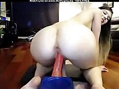 Sexy Blonde Teen With Small Tits Riding Dildo