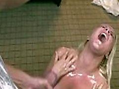Tugging teen amateur drenched in bukkake