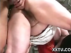 Milkmaid with huge boobs and plump hairy pussy