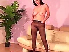 Big titted nylon stockings babe strips