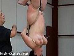 Suspended slaves breast whipping and hardcore bondage of extreme mature painslut