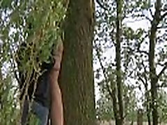 Sweet young girl bound and humiliated outdoor